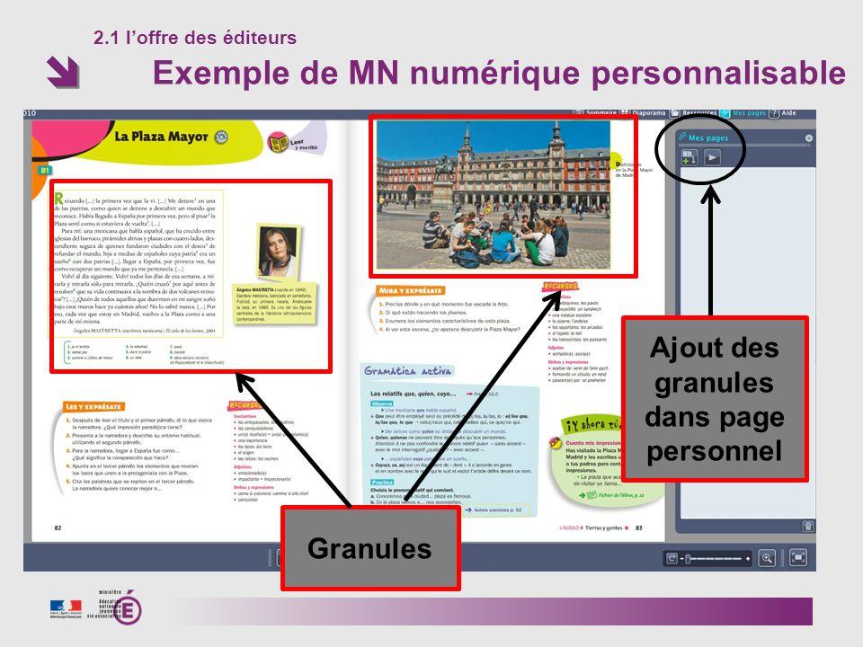 2.1 loffre des éditeurs Exemple de MN numérique personnalisable Granules Ajout des granules dans page personnel