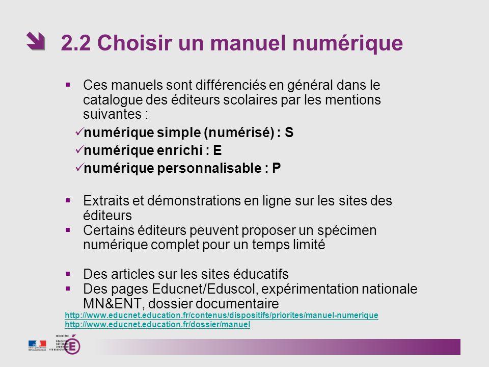 Ces manuels sont différenciés en général dans le catalogue des éditeurs scolaires par les mentions suivantes : numérique simple (numérisé) : S numériq