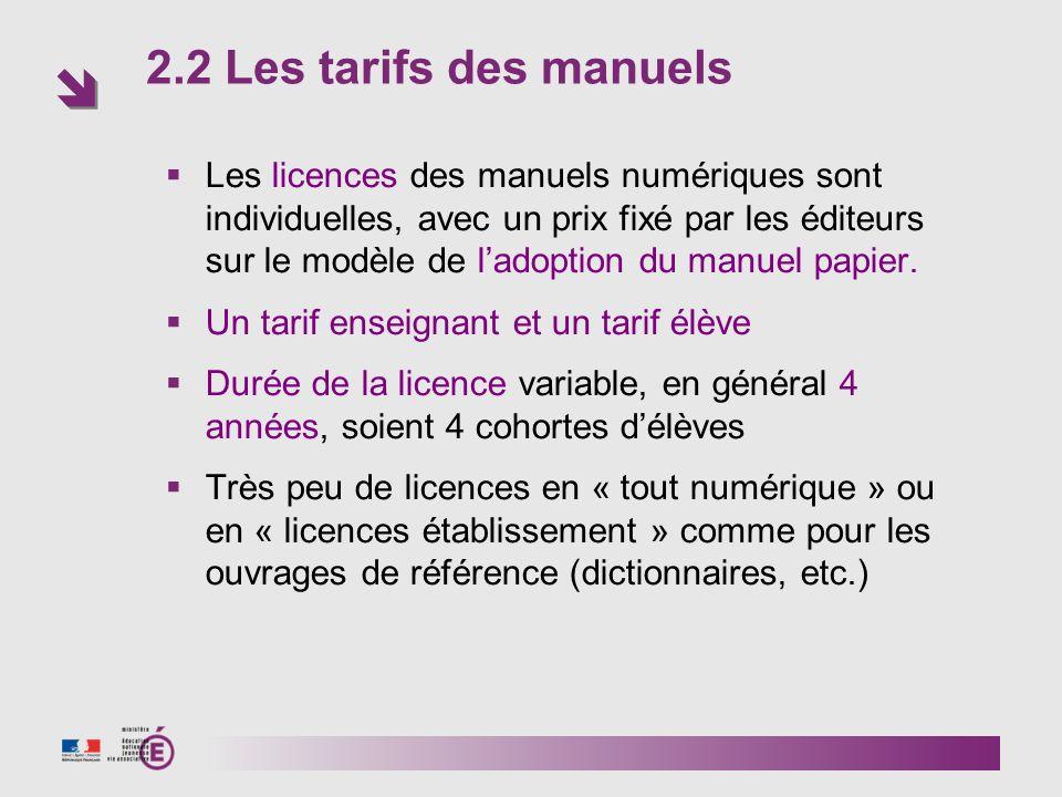 2.2 Les tarifs des manuels Les licences des manuels numériques sont individuelles, avec un prix fixé par les éditeurs sur le modèle de ladoption du manuel papier.