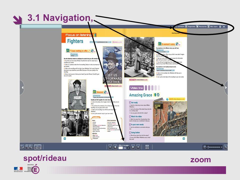 3.1 Navigation, zoom spot/rideau