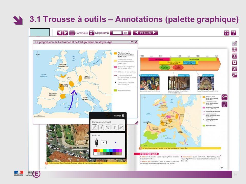 3.1 Trousse à outils – Annotations (palette graphique) 20