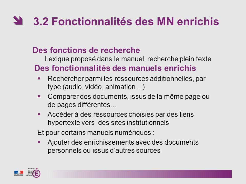3.2 Fonctionnalités des MN enrichis Des fonctions de recherche Lexique proposé dans le manuel, recherche plein texte Des fonctionnalités des manuels e