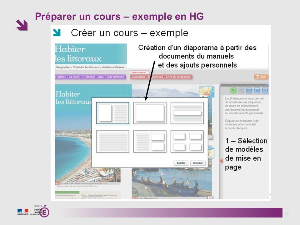 Préparer un cours – exemple en HG 23