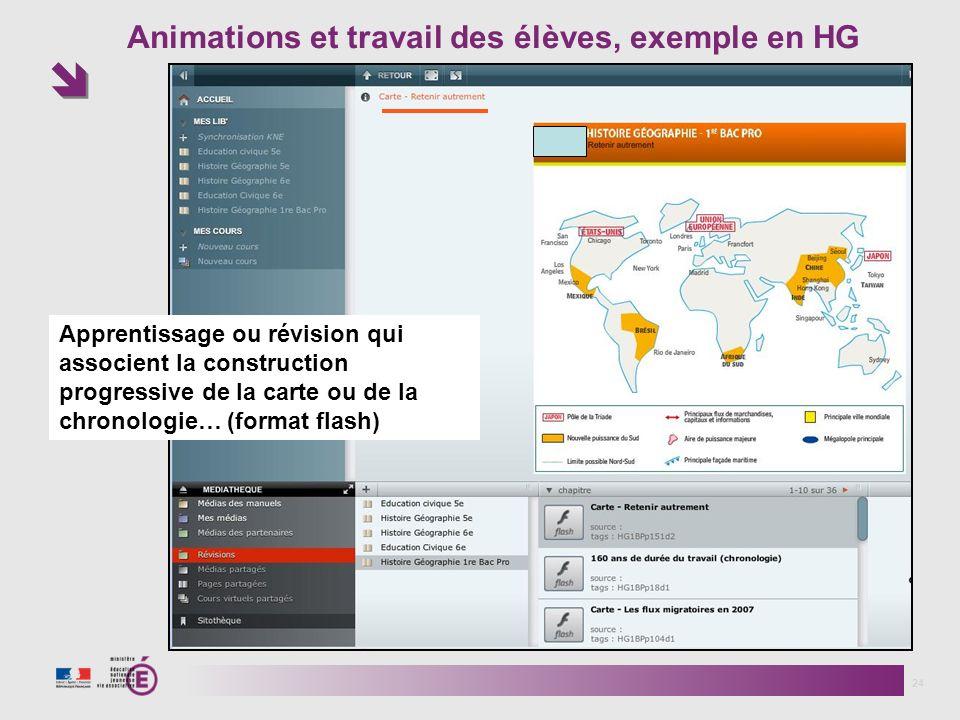 Animations et travail des élèves, exemple en HG 24 Apprentissage ou révision qui associent la construction progressive de la carte ou de la chronologie… (format flash)