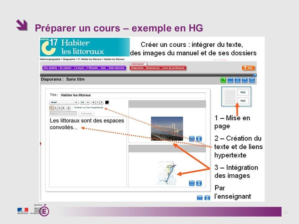 Préparer un cours – exemple en HG 26
