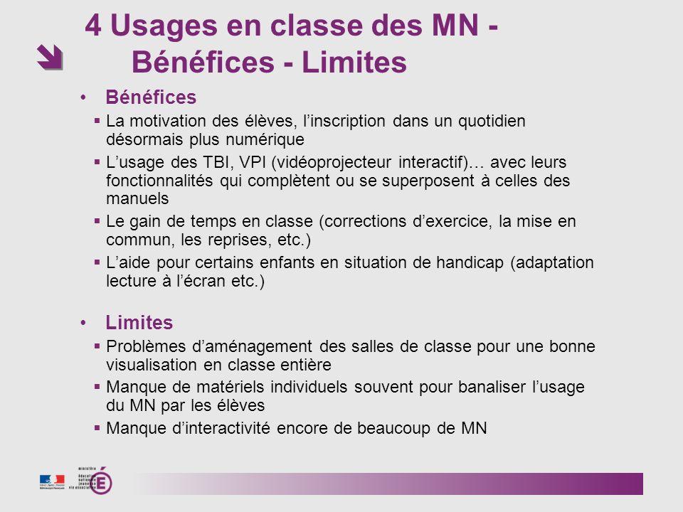 4 Usages en classe des MN - Bénéfices - Limites Bénéfices La motivation des élèves, linscription dans un quotidien désormais plus numérique Lusage des