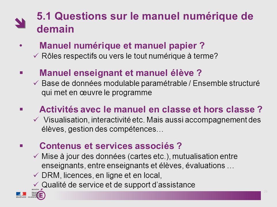 5.1 Questions sur le manuel numérique de demain 29 Manuel numérique et manuel papier ? Rôles respectifs ou vers le tout numérique à terme? Manuel ense