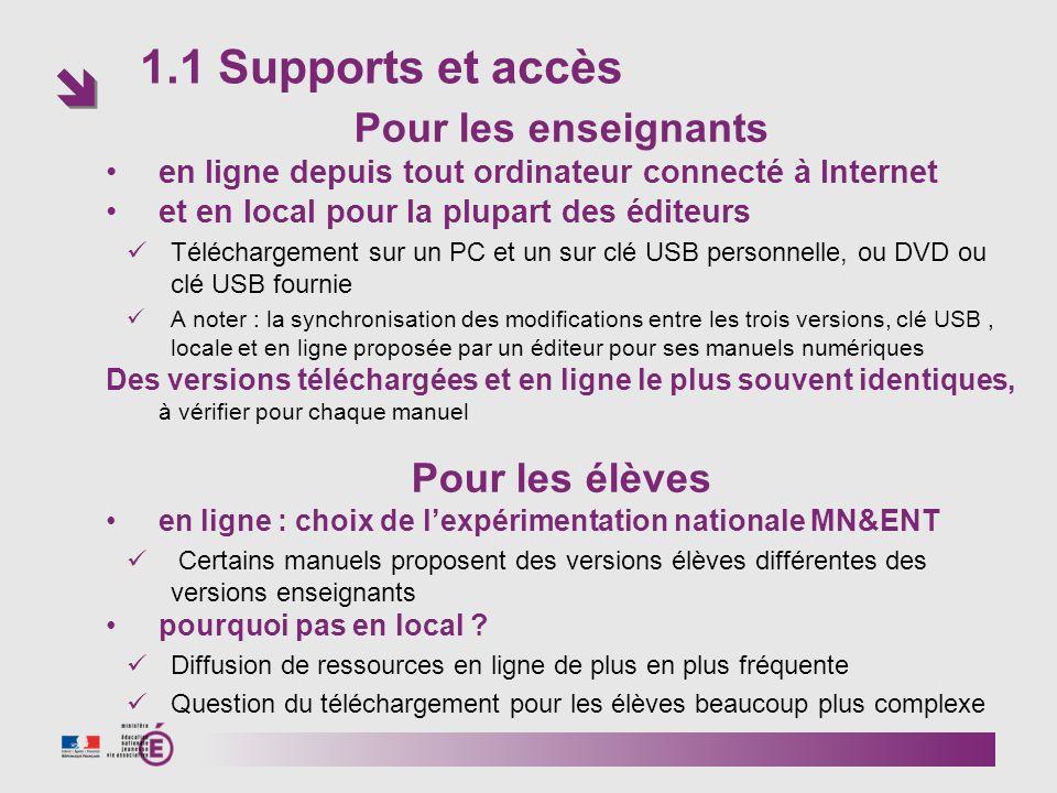 1.1 Supports et accès Pour les enseignants en ligne depuis tout ordinateur connecté à Internet et en local pour la plupart des éditeurs Téléchargement