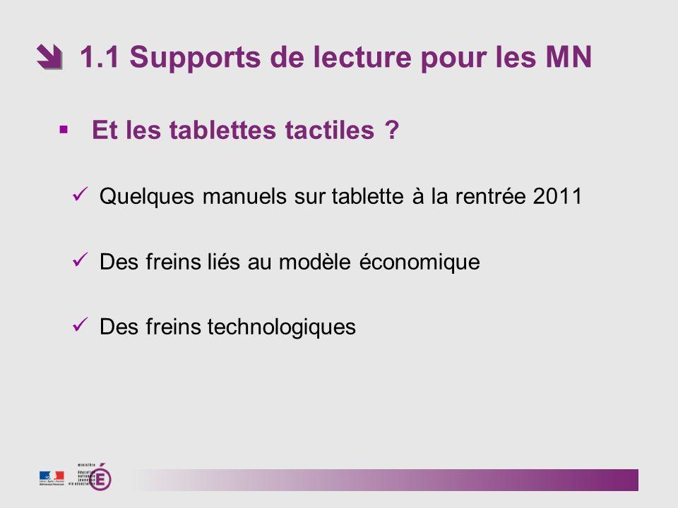 1.1 Supports de lecture pour les MN Et les tablettes tactiles ? Quelques manuels sur tablette à la rentrée 2011 Des freins liés au modèle économique D