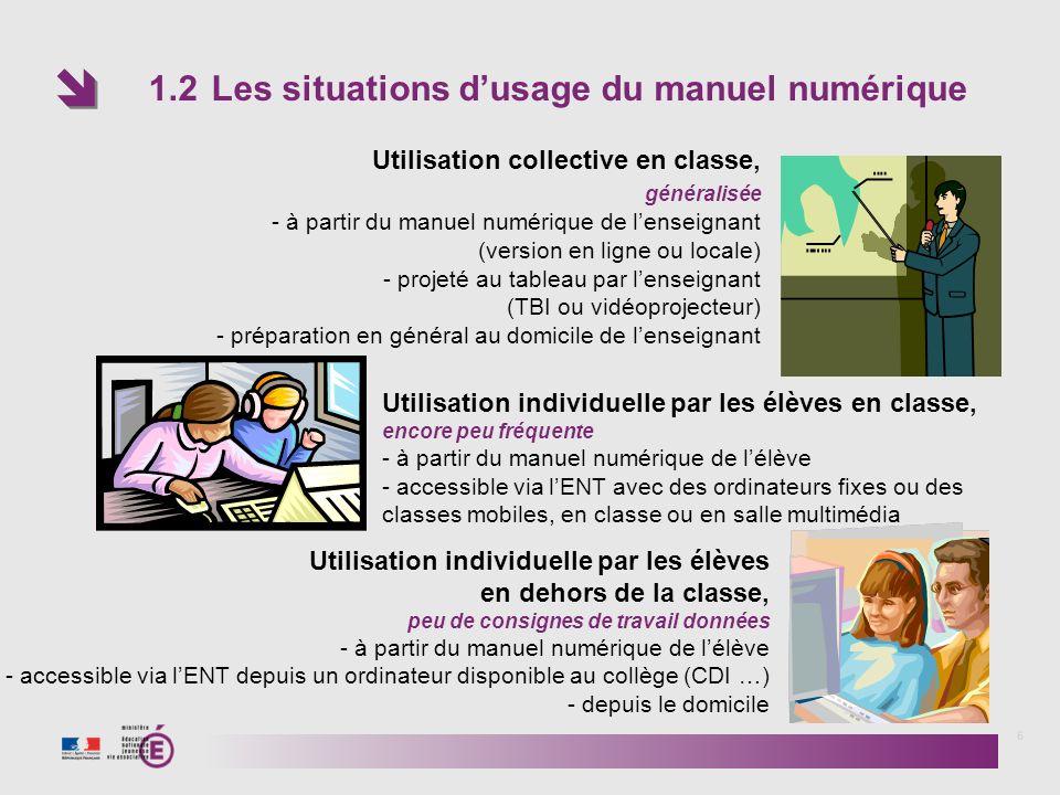 1.2 Les situations dusage du manuel numérique 6 Utilisation collective en classe, généralisée - à partir du manuel numérique de lenseignant (version e