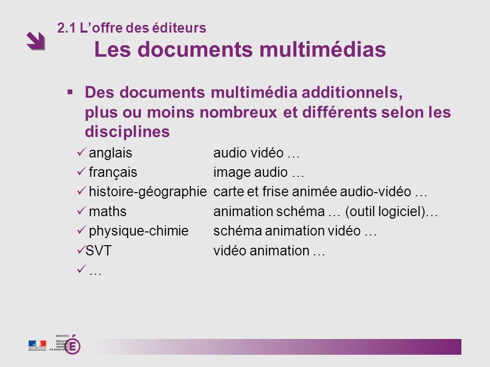Des documents multimédia additionnels, plus ou moins nombreux et différents selon les disciplines anglais audio vidéo … français image audio … histoir