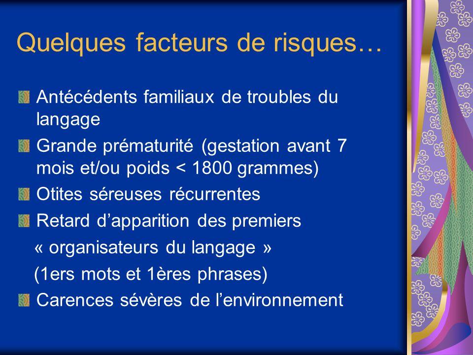 Quelques facteurs de risques… Antécédents familiaux de troubles du langage Grande prématurité (gestation avant 7 mois et/ou poids < 1800 grammes) Otit