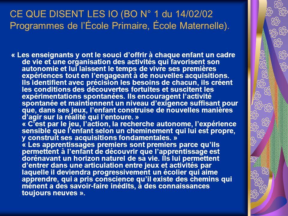 CE QUE DISENT LES IO (BO N° 1 du 14/02/02 Programmes de lÉcole Primaire, École Maternelle).