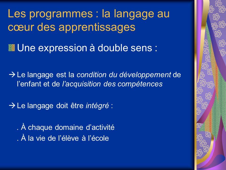Les programmes : la langage au cœur des apprentissages Une expression à double sens : Le langage est la condition du développement de lenfant et de lacquisition des compétences Le langage doit être intégré :.