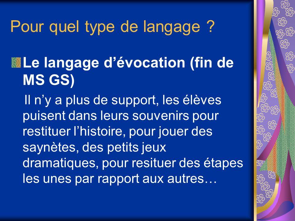 Pour quel type de langage ? Le langage dévocation (fin de MS GS) Il ny a plus de support, les élèves puisent dans leurs souvenirs pour restituer lhist
