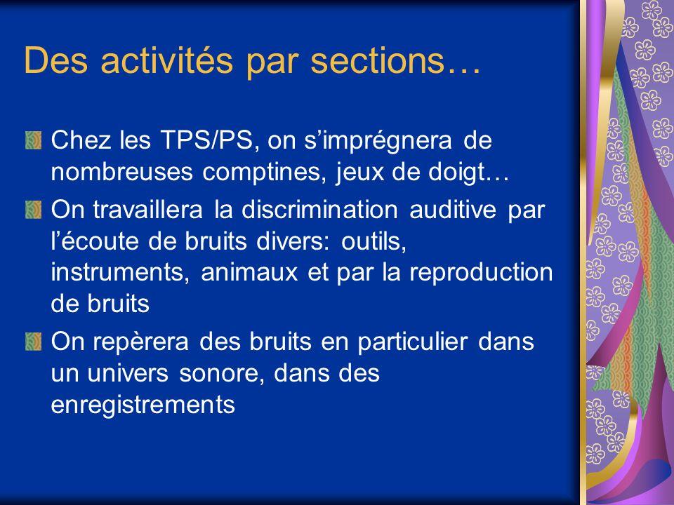 Des activités par sections… Chez les TPS/PS, on simprégnera de nombreuses comptines, jeux de doigt… On travaillera la discrimination auditive par léco
