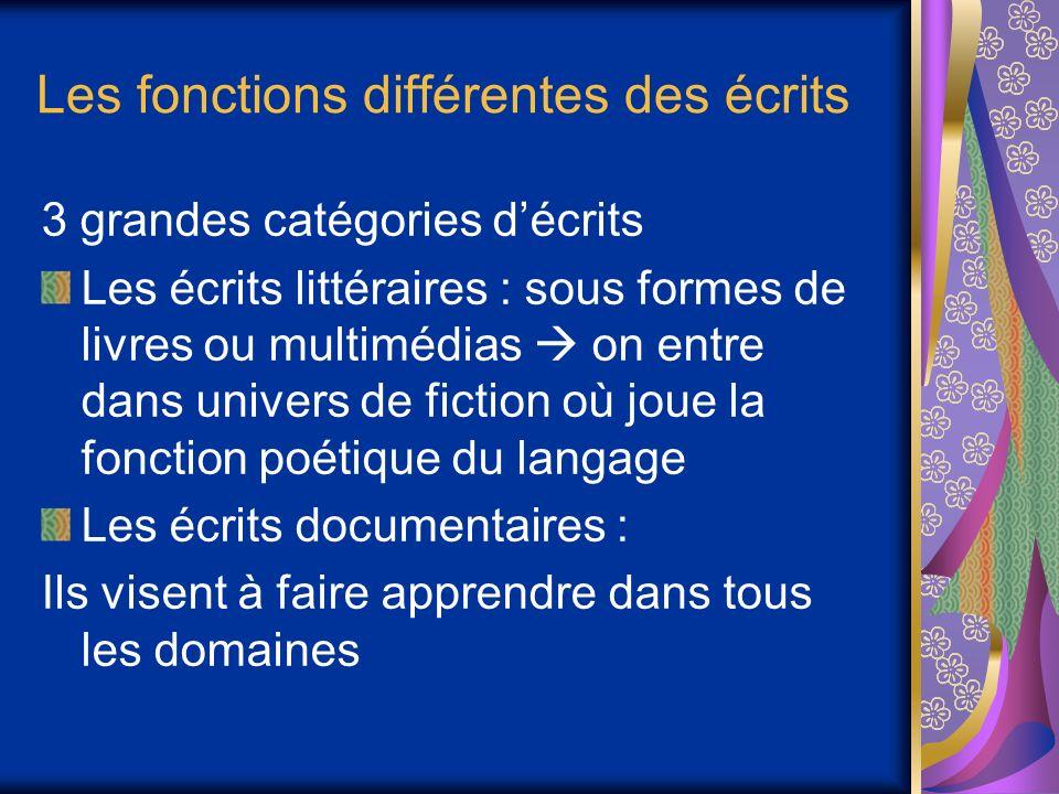 Les fonctions différentes des écrits 3 grandes catégories décrits Les écrits littéraires : sous formes de livres ou multimédias on entre dans univers de fiction où joue la fonction poétique du langage Les écrits documentaires : Ils visent à faire apprendre dans tous les domaines