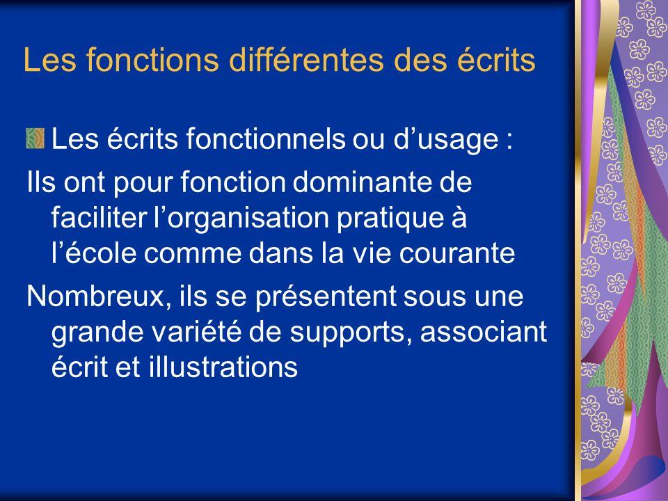 Les fonctions différentes des écrits Les écrits fonctionnels ou dusage : Ils ont pour fonction dominante de faciliter lorganisation pratique à lécole