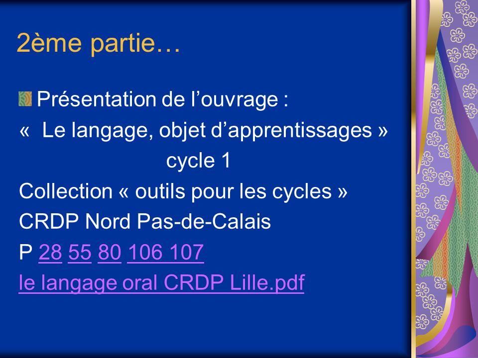 2ème partie… Présentation de louvrage : « Le langage, objet dapprentissages » cycle 1 Collection « outils pour les cycles » CRDP Nord Pas-de-Calais P 28 55 80 106 107285580106 107 le langage oral CRDP Lille.pdf