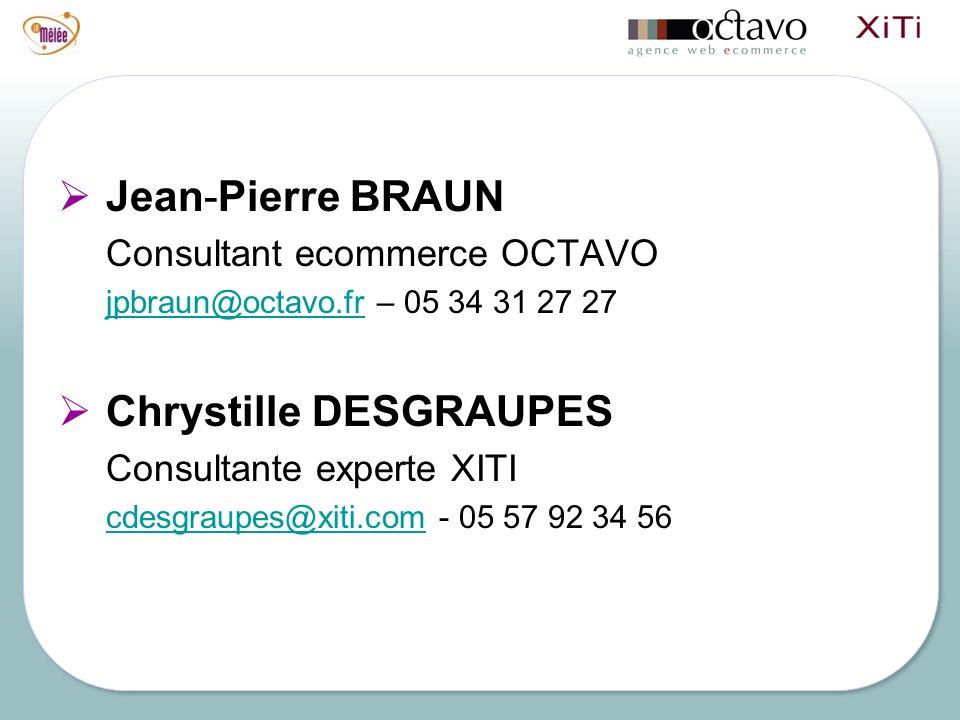 Jean-Pierre BRAUN Consultant ecommerce OCTAVO jpbraun@octavo.frjpbraun@octavo.fr – 05 34 31 27 27 Chrystille DESGRAUPES Consultante experte XITI cdesgraupes@xiti.comcdesgraupes@xiti.com - 05 57 92 34 56