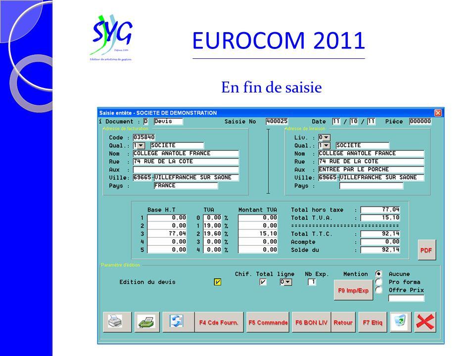 En fin de saisie EUROCOM 2011