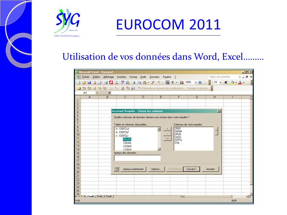 Utilisation de vos données dans Word, Excel……… EUROCOM 2011