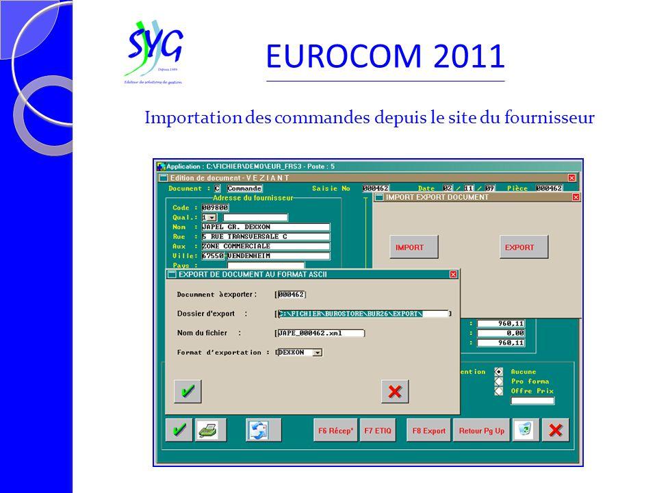EUROCOM 2011 Importation des commandes depuis le site du fournisseur