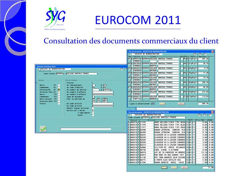 Consultation des documents commerciaux du client EUROCOM 2011