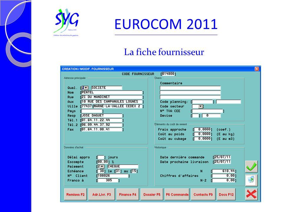 La fiche fournisseur EUROCOM 2011