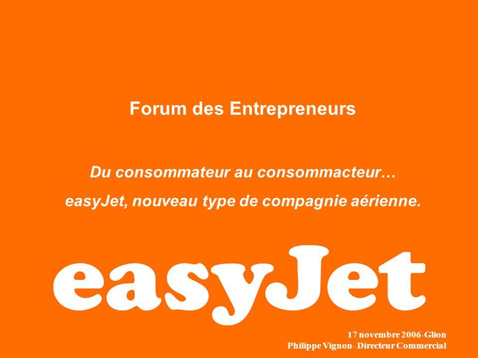 Forum des Entrepreneurs Du consommateur au consommacteur… easyJet, nouveau type de compagnie aérienne. 17 novembre 2006-Glion Philippe Vignon- Directe
