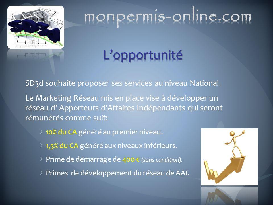 SD3d souhaite proposer ses services au niveau National. Le Marketing Réseau mis en place vise à développer un réseau d Apporteurs dAffaires Indépendan