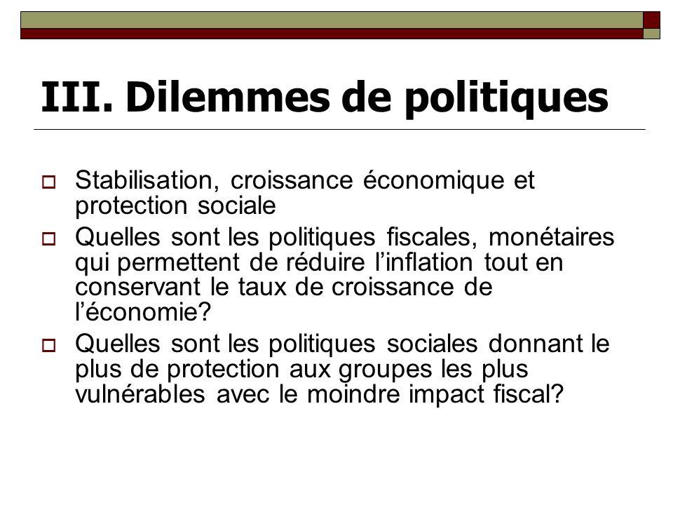 III. Dilemmes de politiques Stabilisation, croissance économique et protection sociale Quelles sont les politiques fiscales, monétaires qui permettent