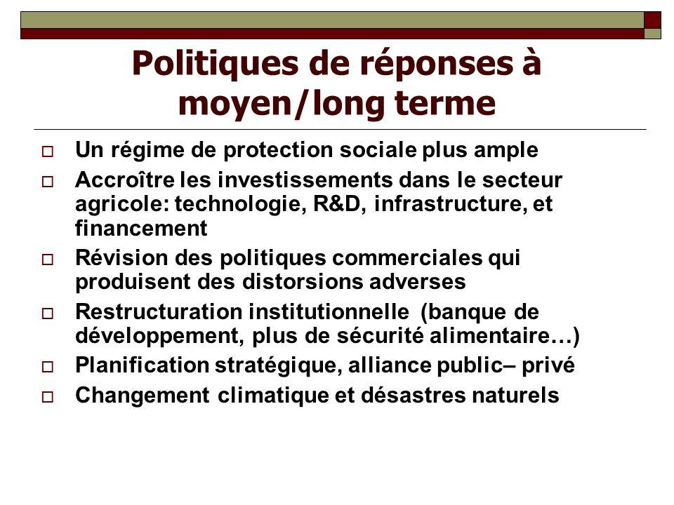 Politiques de réponses à moyen/long terme Un régime de protection sociale plus ample Accroître les investissements dans le secteur agricole: technolog