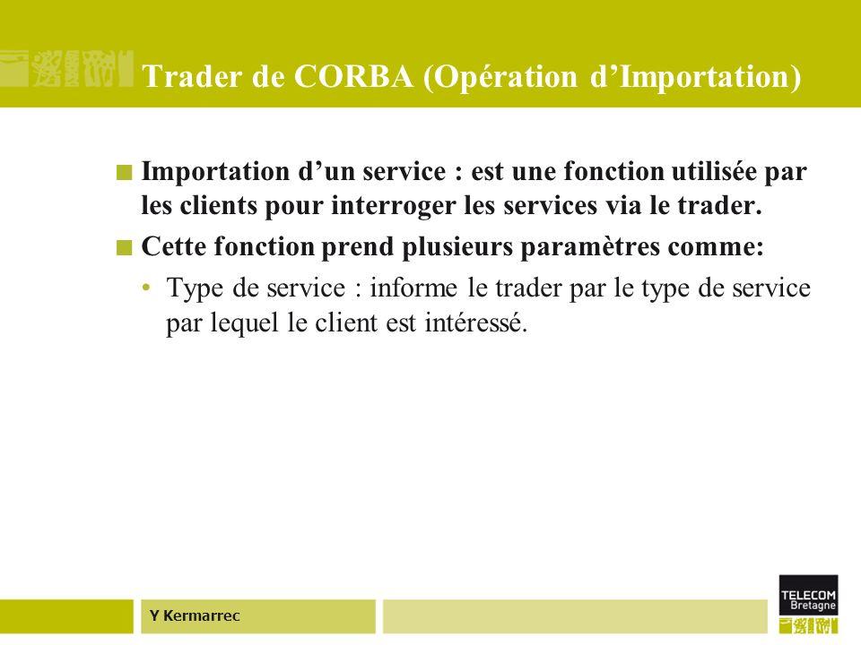 Y Kermarrec Trader de CORBA (Opération dImportation) Importation dun service : est une fonction utilisée par les clients pour interroger les services via le trader.