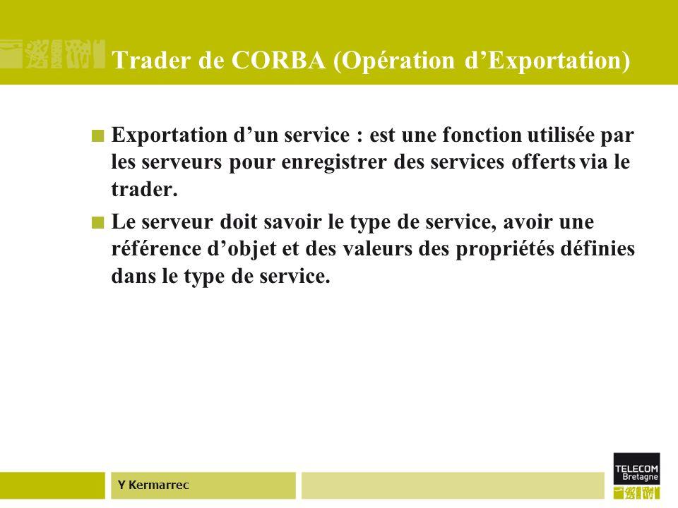 Y Kermarrec Trader de CORBA (Opération dExportation) Exportation dun service : est une fonction utilisée par les serveurs pour enregistrer des services offerts via le trader.