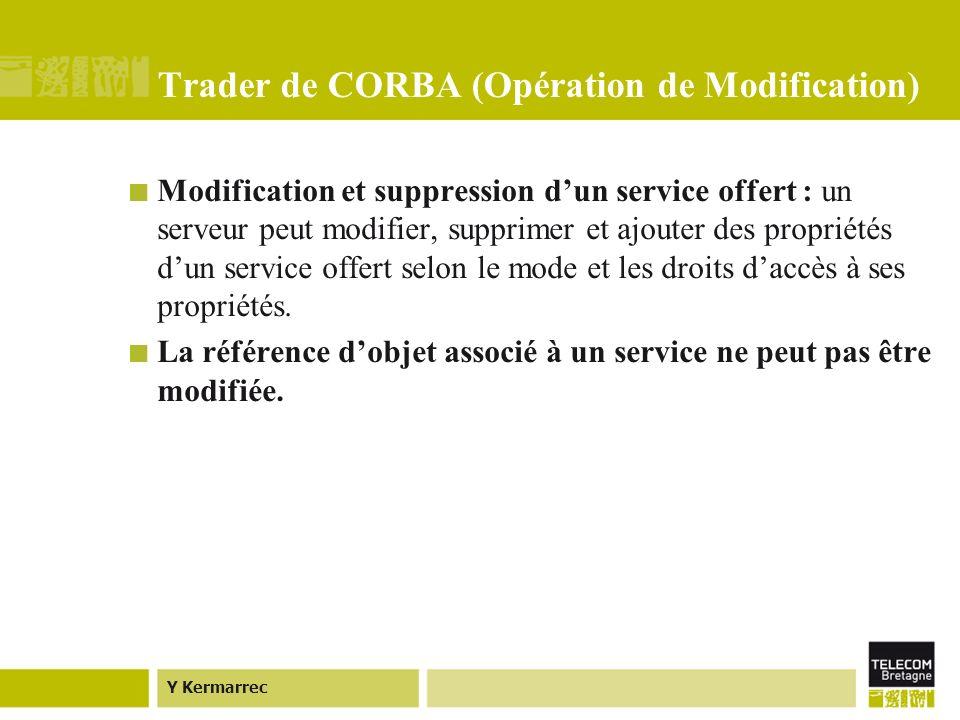 Y Kermarrec Trader de CORBA (Opération de Modification) Modification et suppression dun service offert : un serveur peut modifier, supprimer et ajouter des propriétés dun service offert selon le mode et les droits daccès à ses propriétés.