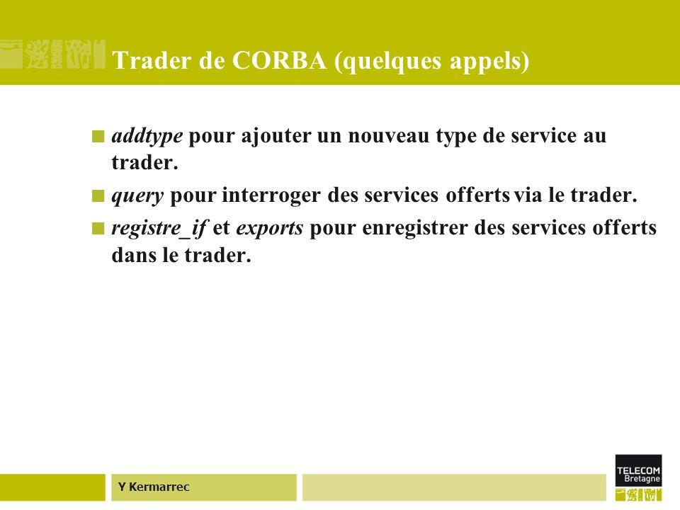 Y Kermarrec Trader de CORBA (quelques appels) addtype pour ajouter un nouveau type de service au trader.