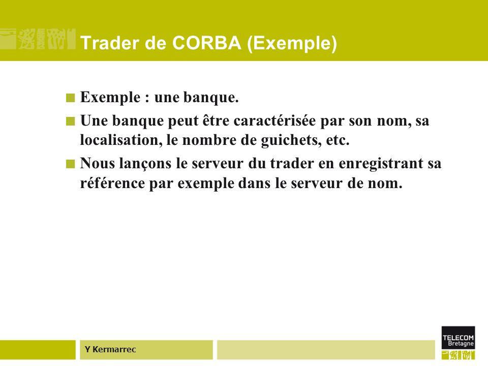 Y Kermarrec Trader de CORBA (Exemple) Exemple : une banque.