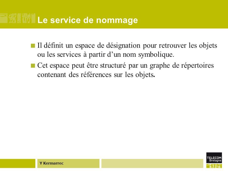 Y Kermarrec Le service de nommage Il définit un espace de désignation pour retrouver les objets ou les services à partir dun nom symbolique.