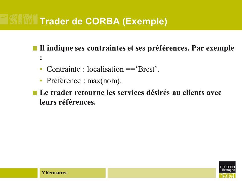 Y Kermarrec Trader de CORBA (Exemple) Il indique ses contraintes et ses préférences.