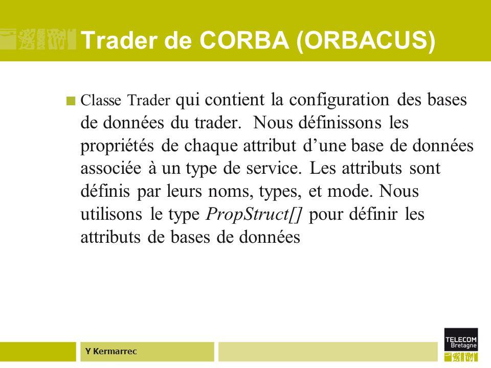 Y Kermarrec Trader de CORBA (ORBACUS) Classe Trader qui contient la configuration des bases de données du trader.