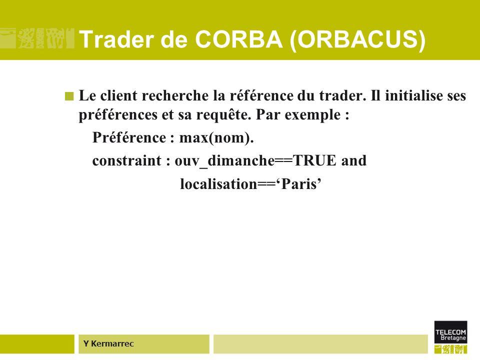 Y Kermarrec Trader de CORBA (ORBACUS) Le client recherche la référence du trader.
