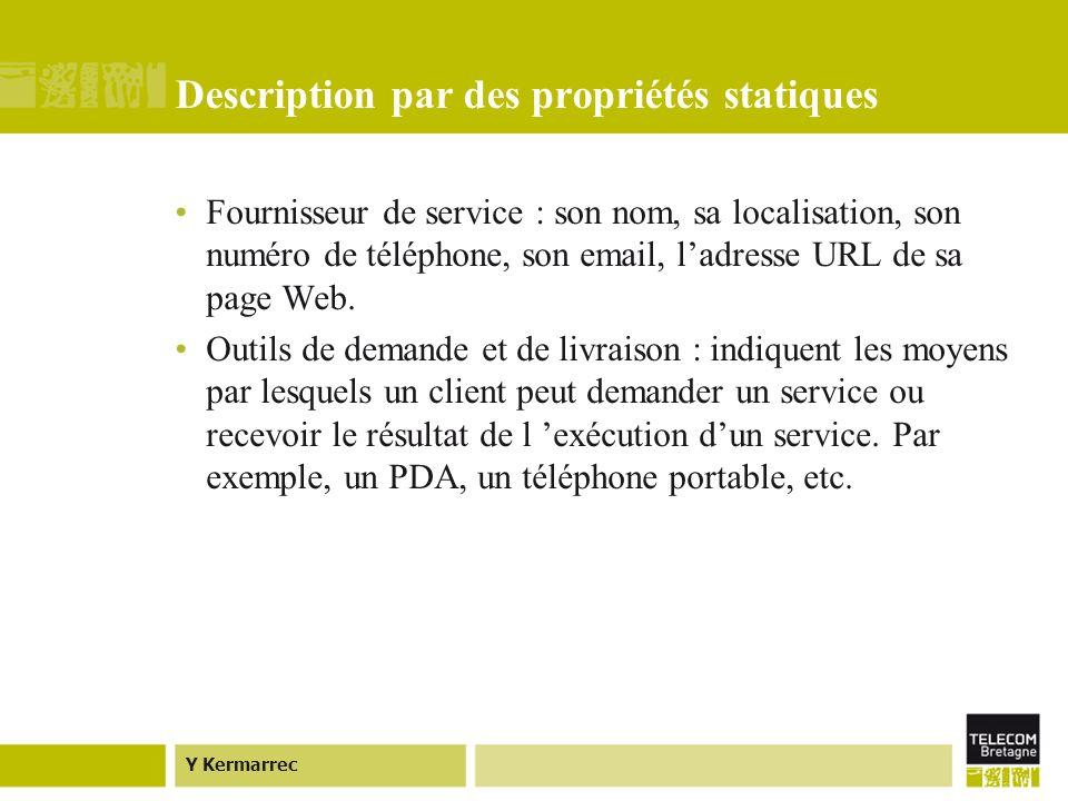 Y Kermarrec Description par des propriétés statiques Fournisseur de service : son nom, sa localisation, son numéro de téléphone, son email, ladresse URL de sa page Web.