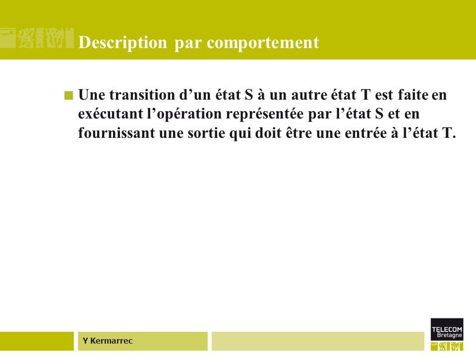 Y Kermarrec Description par comportement Une transition dun état S à un autre état T est faite en exécutant lopération représentée par létat S et en fournissant une sortie qui doit être une entrée à létat T.