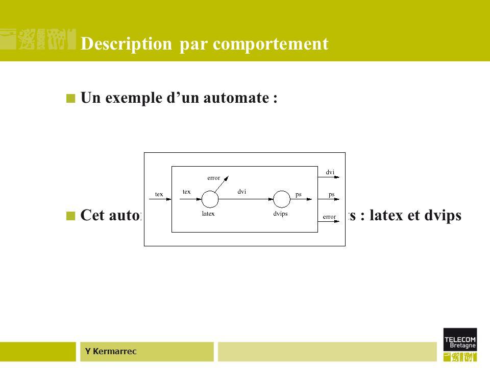 Y Kermarrec Description par comportement Un exemple dun automate : Cet automate est composé de deux états : latex et dvips