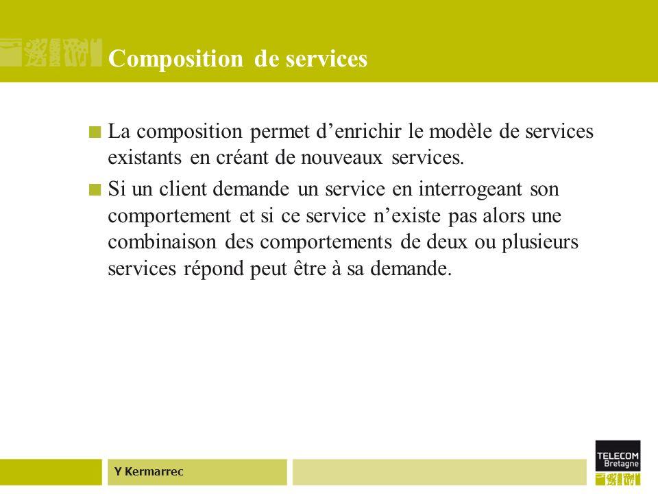 Y Kermarrec Composition de services La composition permet denrichir le modèle de services existants en créant de nouveaux services.