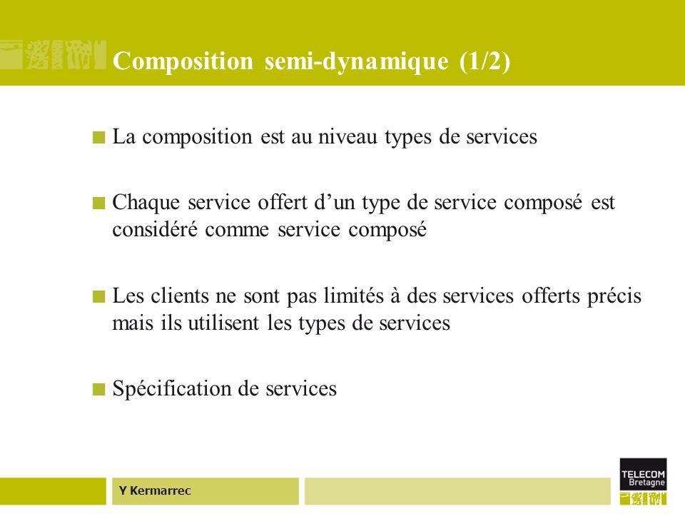 Y Kermarrec Composition semi-dynamique (1/2) La composition est au niveau types de services Chaque service offert dun type de service composé est considéré comme service composé Les clients ne sont pas limités à des services offerts précis mais ils utilisent les types de services Spécification de services