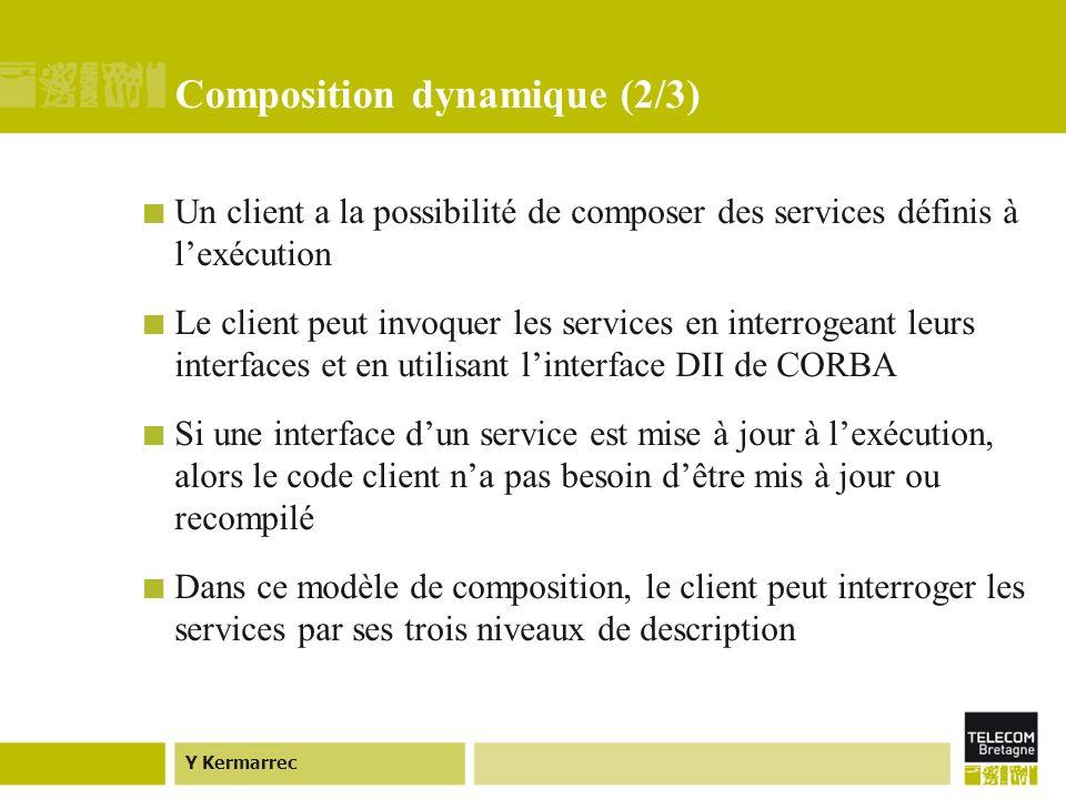 Y Kermarrec Composition dynamique (2/3) Un client a la possibilité de composer des services définis à lexécution Le client peut invoquer les services en interrogeant leurs interfaces et en utilisant linterface DII de CORBA Si une interface dun service est mise à jour à lexécution, alors le code client na pas besoin dêtre mis à jour ou recompilé Dans ce modèle de composition, le client peut interroger les services par ses trois niveaux de description