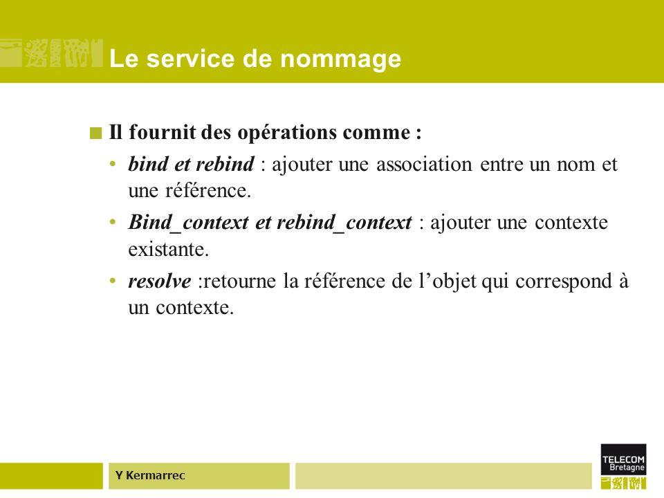 Y Kermarrec Le service de nommage Il fournit des opérations comme : bind et rebind : ajouter une association entre un nom et une référence.