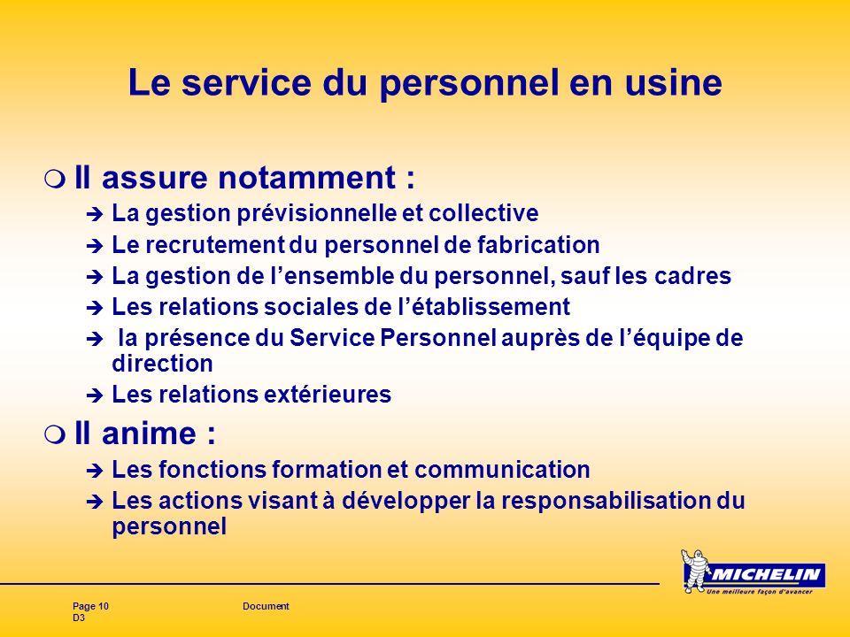 Page 10Document D3 Le service du personnel en usine Il assure notamment : La gestion prévisionnelle et collective Le recrutement du personnel de fabri
